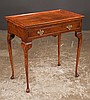 Queen Anne style walnut tea table with moulded top, pull out candle slides, cabriole legs and pad feet, 30
