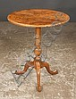 English walnut tripod table with urn shaped center column, cabriole legs and pad feet, 24