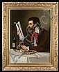 Oil painting on canvas, portrait of man reading paper, signed J. Eckert 1877, canvas size-39