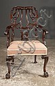 Chippendale mahogany armchair with carved back, needlepoint seat, cabriole legs with acanthus carved knees and ball and claw feet, c.1890, 25