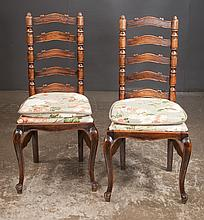 Set of six ladder back dining chairs on cabriole legs with carved feet, c.1920, 19