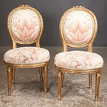 Pair of Louis XVI style gold gilt tapestry side chairs on tapered fluted legs, 20
