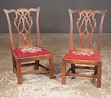 Pair of English Chippendale oak child's side chairs with interlaced splat backs on straight legs with stretchers, c.1860, 17