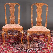 Pair of Queen Anne style walnut side chairs with scroll carved backs, shaped seats, cabriole legs, shell carved knees and pad feet, c.1900, 22