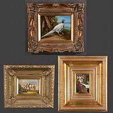 Collection of three paintings including oil on canvas depicting a pheasant, 16