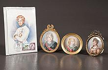 Oval miniature painting of Josephine of France, an oval and a round miniature painting of Napoleon's son as a young boy and a color postal card of Napoleons son with Napoleon stamp, four pieces