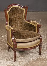 Louis XVI style miniature carved mahogany bergere with velvet upholstery on circular tapered legs, 17.5