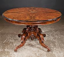 English Regency walnut circular dining table with pierced and scroll carved base with four legs, c.1880, 48