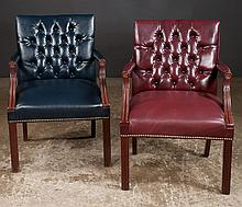 Group of four Chippendale style armchairs on straight legs, 24