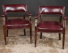 Pair of barrel back armchairs on tapered splay legs, maroon color, 24