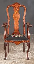 Dutch mahogany armchair with satinwood marquetry inlay, urn shaped splat back and ball and claw feet, c.1900, 26
