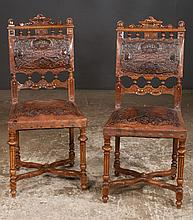 Set of four French walnut side chairs with carved backs, tapered fluted legs and cross-stretcher, c.1890, 17