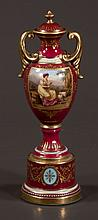 Royal Vienna porcelain double handled cabinet vase in puce and gilt scenic decoration, 9.50