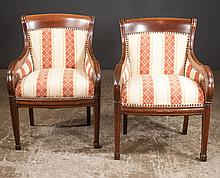 Set of four Sheraton style mahogany armchairs on tapered moulded legs and block feet, 24