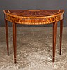 Sheraton style mahogany demilune console table with satinwood banding and satinwood half fan inlay on square tapered legs, by