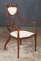 Mahogany Art Deco armchair with pierced carved back, square tapered legs and spade feet, c.1900, 25