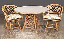 Rattan circular dining table, 42