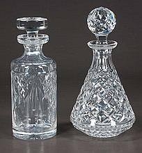 Cut glass decanter in the diamond cut design, signed Waterford, 10.5