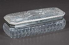 American Brilliant period cut glass box with a basket of flowers etched in the top and silver plated mounts, c.1920, 11
