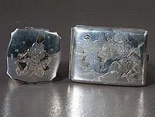 Japanese sterling silver 950 engraved compact, 3