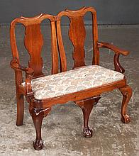 Hand carved Chippendale style mahogany child's settee with urn shape splat backs, cabriole legs and ball and claw feet, 28