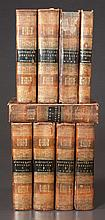 Set of nine volumes of full leather bound books, The History of England by Bisset, Smollett and Hume, this set was owned by John Netherland who lived in Rosemont in Rogersville, TN