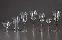 Group of 46 pieces of cut crystal stemware in three similar but different patterns