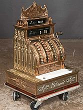 National polished brass cash register with marble plate, c.1909, Model 440, 18