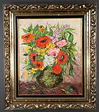 Oil painting on canvas Venetian style floral still life, signed