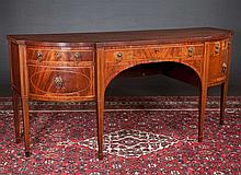 Inlaid Sheraton mahogany shaped front sideboard with plum pudding top and square tapered legs, c.1860, 78