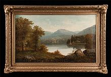 19th century American landscape painting with lake and mountains, signed M. Moses, canvas size 22