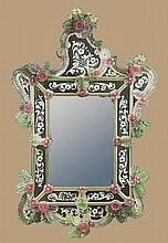 Exceptional 19th century Venetian mirror with arched pediment and rose and green leaf and floral design, 53