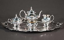 Gorham silver plated tea set with tea pot, cream, sugar, waste bowl and a large oval tray-27