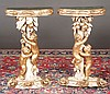 Pair of carved Italian painted and gold gilt console tables with gold gilt putti supports, c.1890, 20
