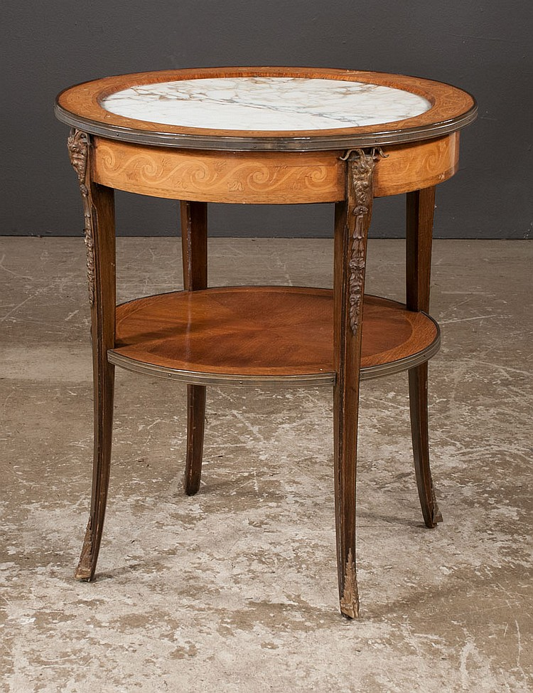 Louis XV bronze mounted walnut salon table with marquetry inlay and inset marble to top, 27