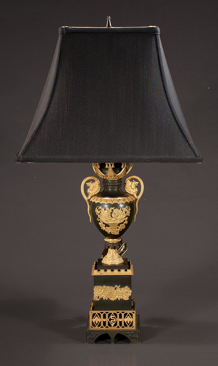 19th century French Empire bronze dore mounted lamp, 26