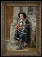 19th century German oil painting on canvas, young boy standing next to building holding horn and coin, signed left corner, canvas size-36
