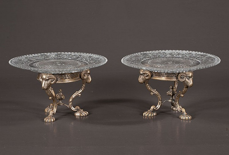 Pair of English silver plated compote stands with rams head mounts and sandwich glass plates, c.1900, 8