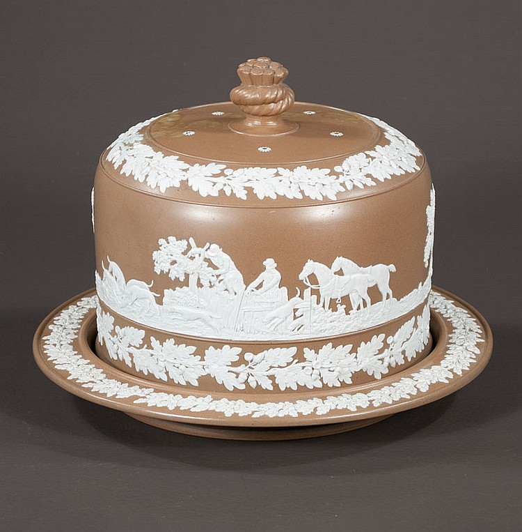 Johnson Brothers covered cheese dish with scenic decoration and horses, 12