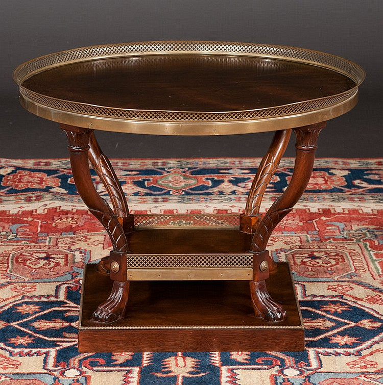 English Regency style mahogany coffee table with pierced brass gallery, 27