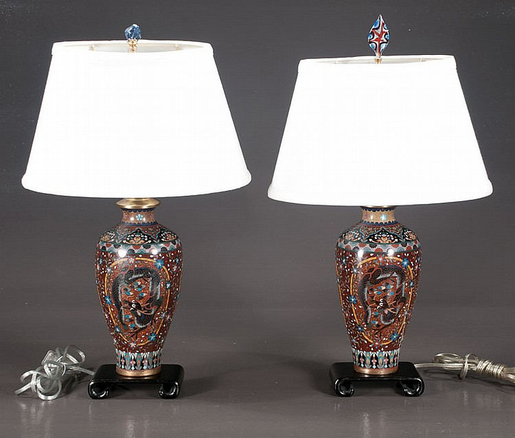 Pair of Chinese cloisonné lamps with multicolor butterfly and floral decoration, 20