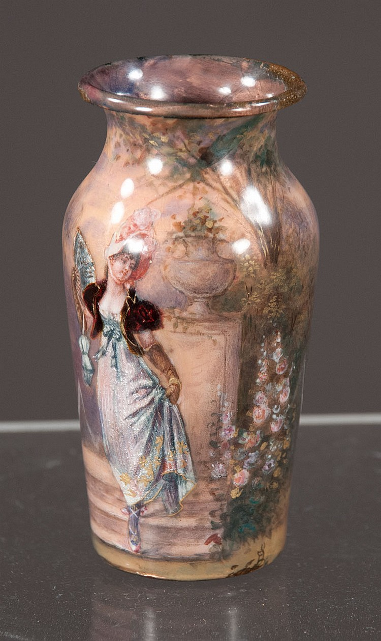 French enamel on copper cabinet vase having foil painting of woman to front in garden setting, c.1860,  3.25