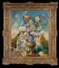 19th century oil painting on canvas, French still life with urn, flowers and peacock, canvas size-35