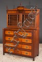 Inlaid American mid Atlantic states Federal secretaire bookcase with mullion glass doors, fitted interior, fluted side columns and turned feet, c.1830, 45