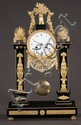 Late 18th century Empire period black marble and ormolu mounted mantle clock with Viennese works, c.1790-1800