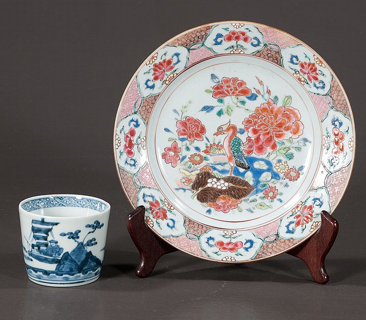 18th century Chinese porcelain plate with multicolor pheasant and floral decoration, and an early Chinese blue and white porcelain brush pot with scenic decoration, 4