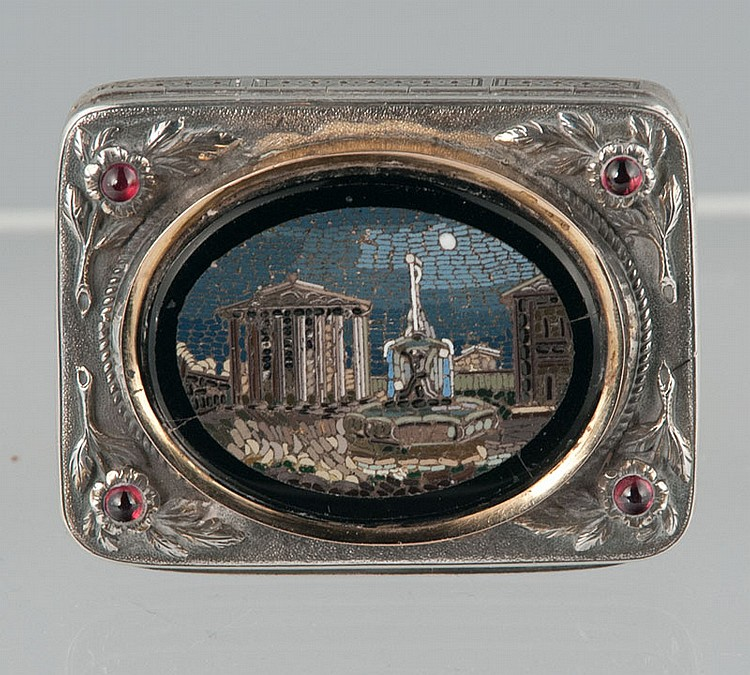 Italian silver plated box with mosaic Roman Ruin and flower design to corners inset with cabochon rubies, c.1860,  2