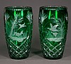 Pair of green overlay vases with diamond and pinwheel cut and etched dog and bird decoration, 12