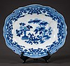Blue and white English ironstone tree well platter with urn and floral decoration, c.1890, 20