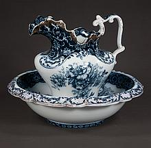 Blue and white English china bowl and pitcher set with floral decoration, c.1900